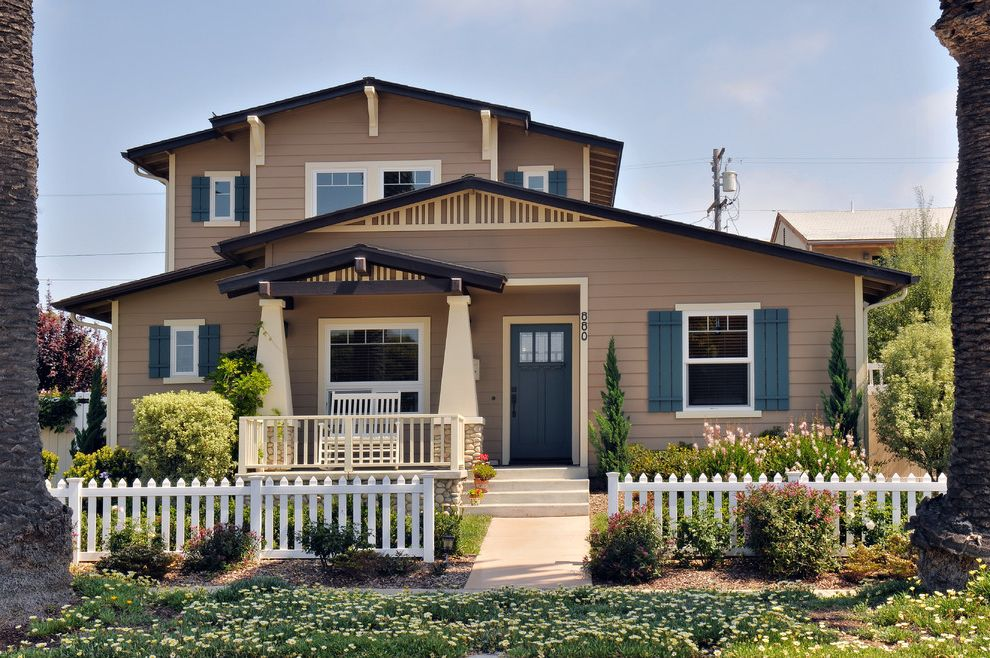 Vinyl Fencing San Diego   Craftsman Exterior Also Batten Shutters Blue Shutters Elephant Leg Columns Large Overhang Low Pitch Gable Roof Two Story White Picket Fence White Trim