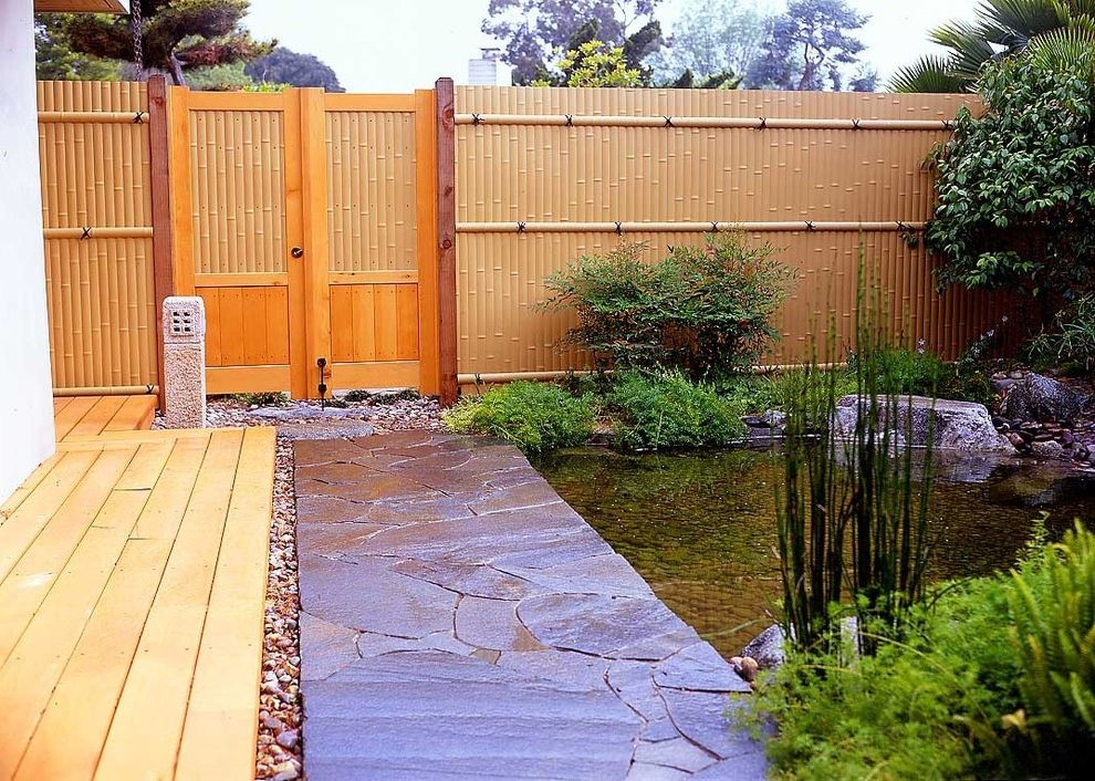 Vinyl Fencing San Diego with Asian Landscape Also Backyard Bamboo Fence Deck Garden Japanese Garden Pebbles Pond Rock Walkway Stone Pathway Water Feature Wood Doors