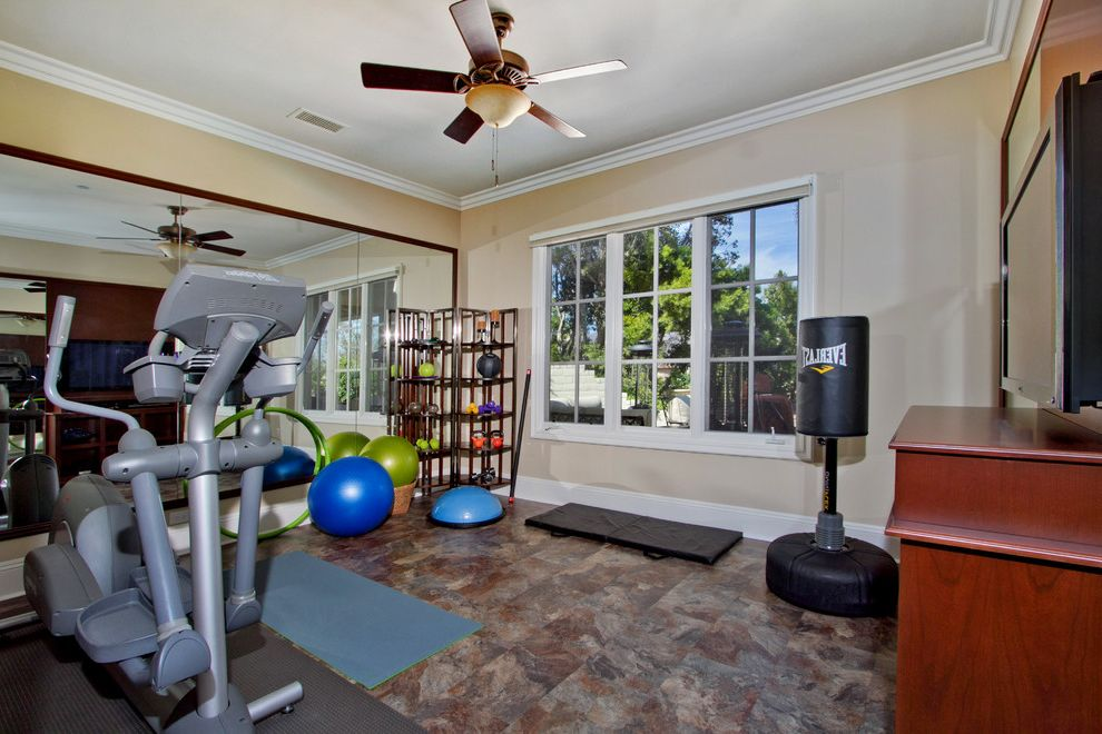 Vinyl Fencing San Diego with Traditional Home Gym  and Exercise Exercise Room Fitness Room Gym Home Fitness Home Gym Mirrored Wall San Diego San Diego Kitchen Bath Design San Diego Kitchen Design San Diego Kitchen Designers Workout Workout Room