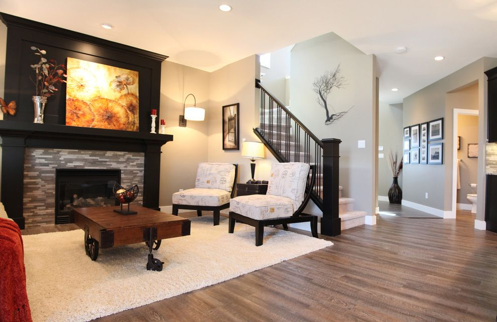 Vinyl Flooring for Basement   Contemporary Living Room  and Black Mantle Black Millwork Stone Fireplace Tile Vinyl Plank Flooring
