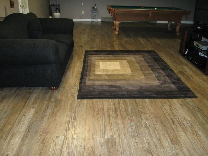Vinyl Flooring for Basement with Modern Living Room  and Concrete Subfloor Konecto Luxury Modern Plank Vinyl Woodlook