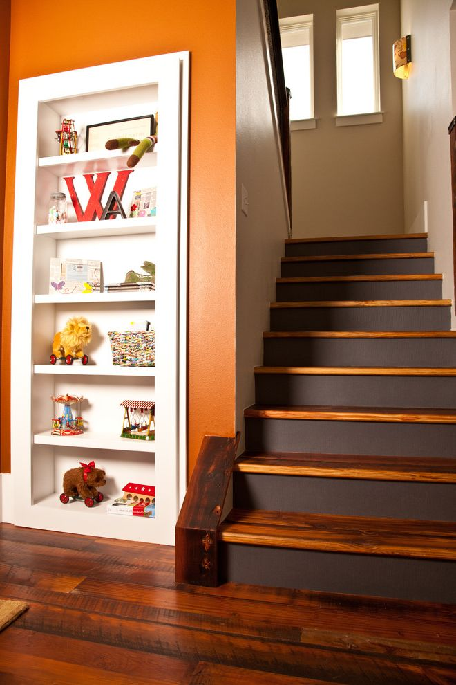Vinyl Stair Tread Covers   Traditional Staircase Also Beige Dark Brown Dark Stained Wood Open Shelves Orange Stairs Toys White Built in Shelves White Painted Wood Windows Wood Floor