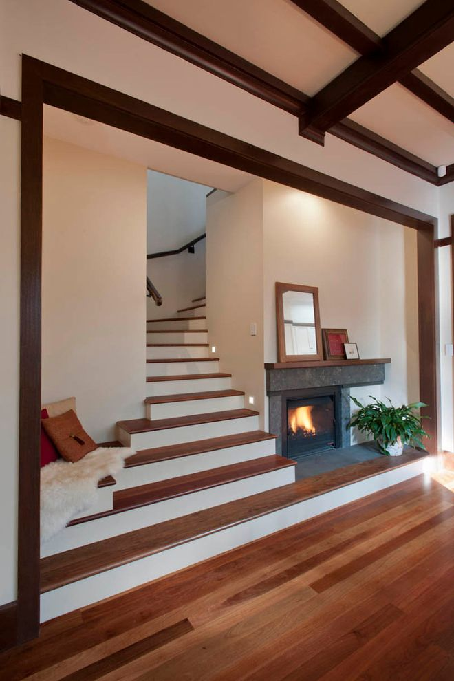 Vinyl Stair Tread Covers   Traditional Staircase  and Dark Wood Ceiling Rafters Dark Wood Exposed Beams Dining Extension Fireplace Framed Artwork Renovation White Fur Throw