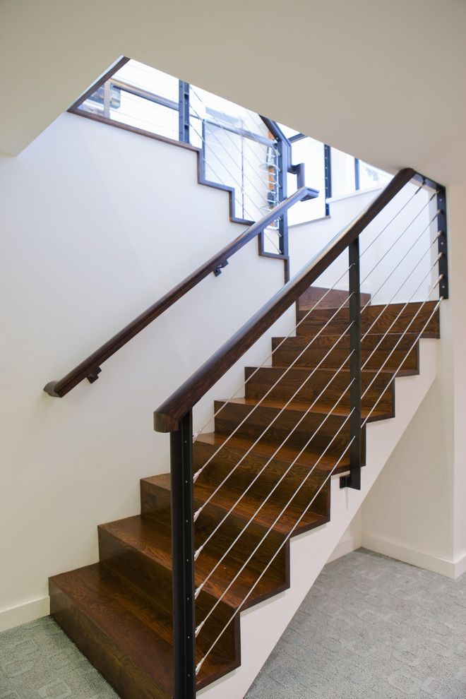 Vinyl Stair Tread Covers with Modern Staircase  and Baseboards Basement Cable Railing Carpet Texture Dark Floor Wall Mount Railing Wooden Staircase
