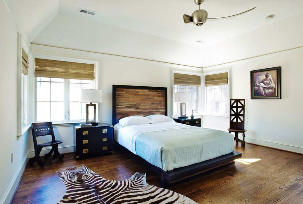 Vinyl Wood Flooring Home Depot   Eclectic Bedroom  and Bed Bedding Ceiling Fan Chair Dark Wood Floor French Windows Grass Blinds Headboard Island Living Table Lamp Tropical Wood Floor Zebra Rug