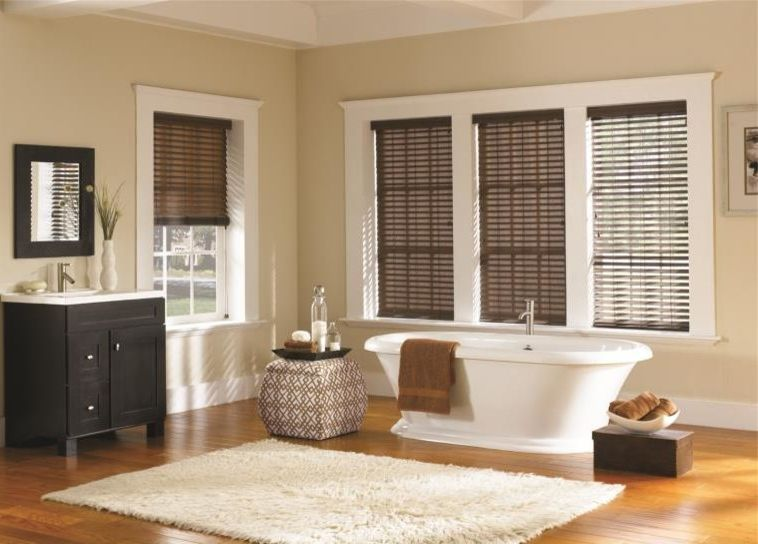 Vinyl Wood Flooring Home Depot with Traditional Bathroom  and Bathroom Blinds Blinds Curtains Drapery Drapes Roman Shades Shades Shutter Window Blinds Window Coverings Window Treatments Wood Blinds