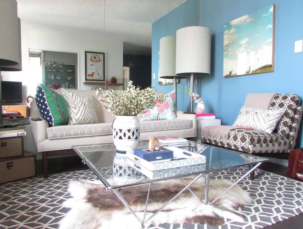 Vista Print Coupon   Contemporary Living Room  and Blue Wall Brown and White Chair Drum Shade Floor Lamp Glass Coffee Table Gray and White Rug Metal Frame Mirror Wall Mixed Patterns Mixed Prints My Houzz Polka Dots