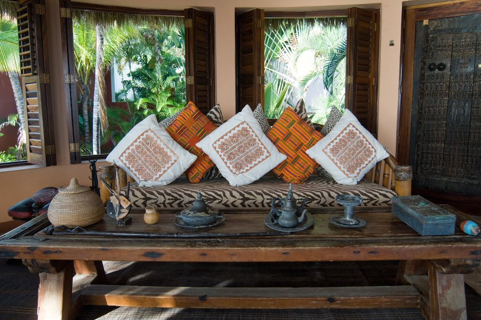 Vista Print Coupon   Rustic Family Room Also Architectural Photography Bold Prints Dark Stained Wood Interior Louvered Shutters Office with Ocean and Garden Views Orange Pillows Rustic Trestle Table