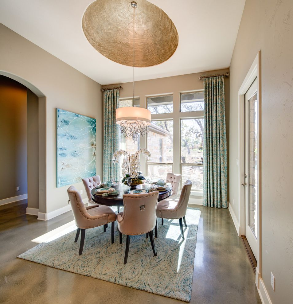 Vista Print Coupon   Transitional Dining Room  and Arched Doorway Area Rug Beige Blue Accent Color Copper Paint High Ceilings Large Windows Pendant Light Printed Curtains Round Dining Table Tufted Dining Chairs Wall Painting