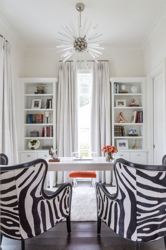 Vista Print Coupon   Transitional Home Office Also Acrylic Lighting Built in Cabinetry Curtains Glam Lucite Desk Chair Tall Ceilings Zebra Hide Chairs
