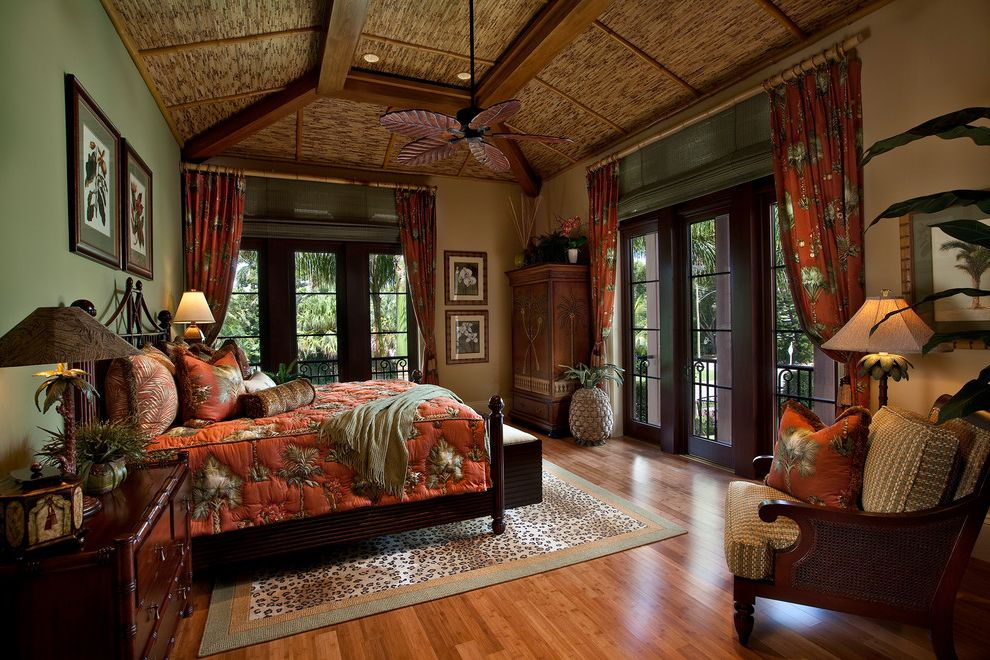 Vista Print Coupon   Tropical Bedroom Also Bamboo Bamboo Ceiling Bamboo Shades Green Walls Leopard Print Rug Red Coverlet Red Curtains Sliding French Doors Tray Ceiling Tropical Ceiling Fan Wood Ceiling Wood Floor Wooden Bed