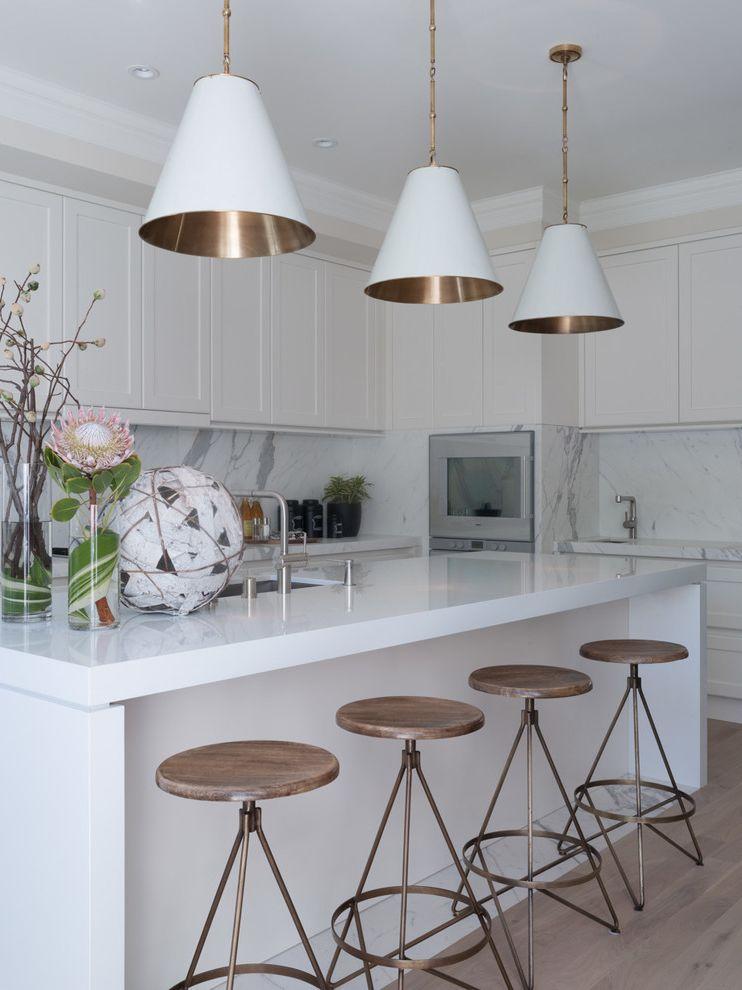 Visual Comfort Pendants   Contemporary Kitchen Also Brass Barstools Brushed Brass Light Fixture Marble on Floor San Francisco San Francisco Designer Visual Comfort