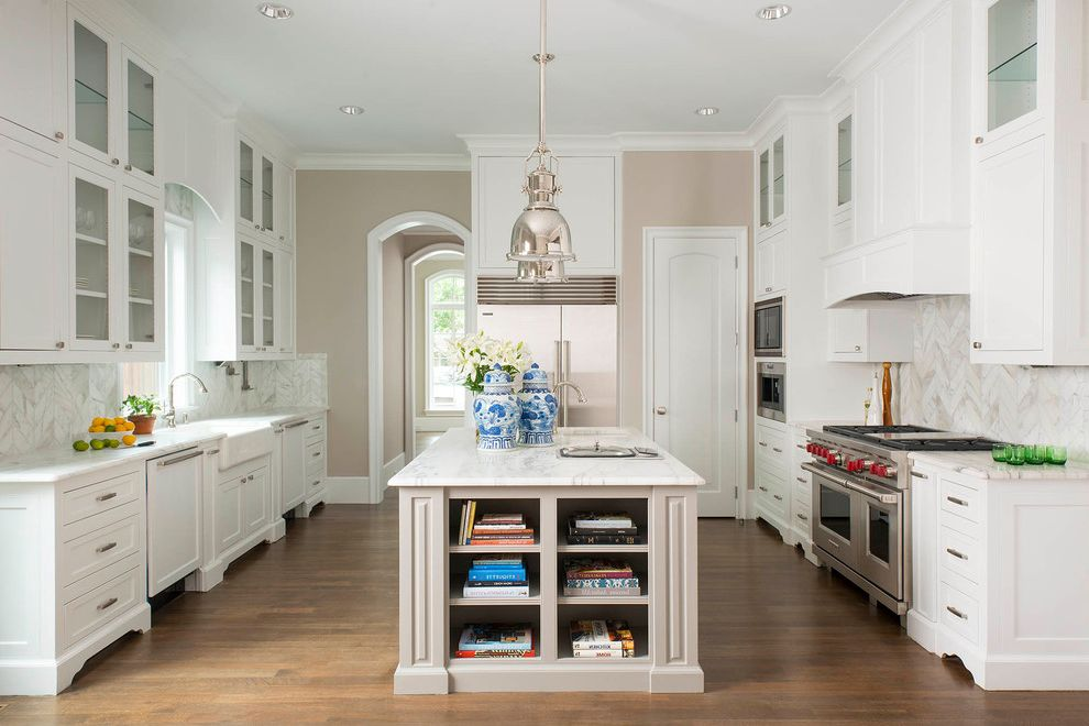 Visual Comfort Pendants   Traditional Kitchen  and Can Lights Cookbooks Elegance Glass Front Cabinets Pendant Lighting Range Vases White and Grey Kitchen White Kitchen