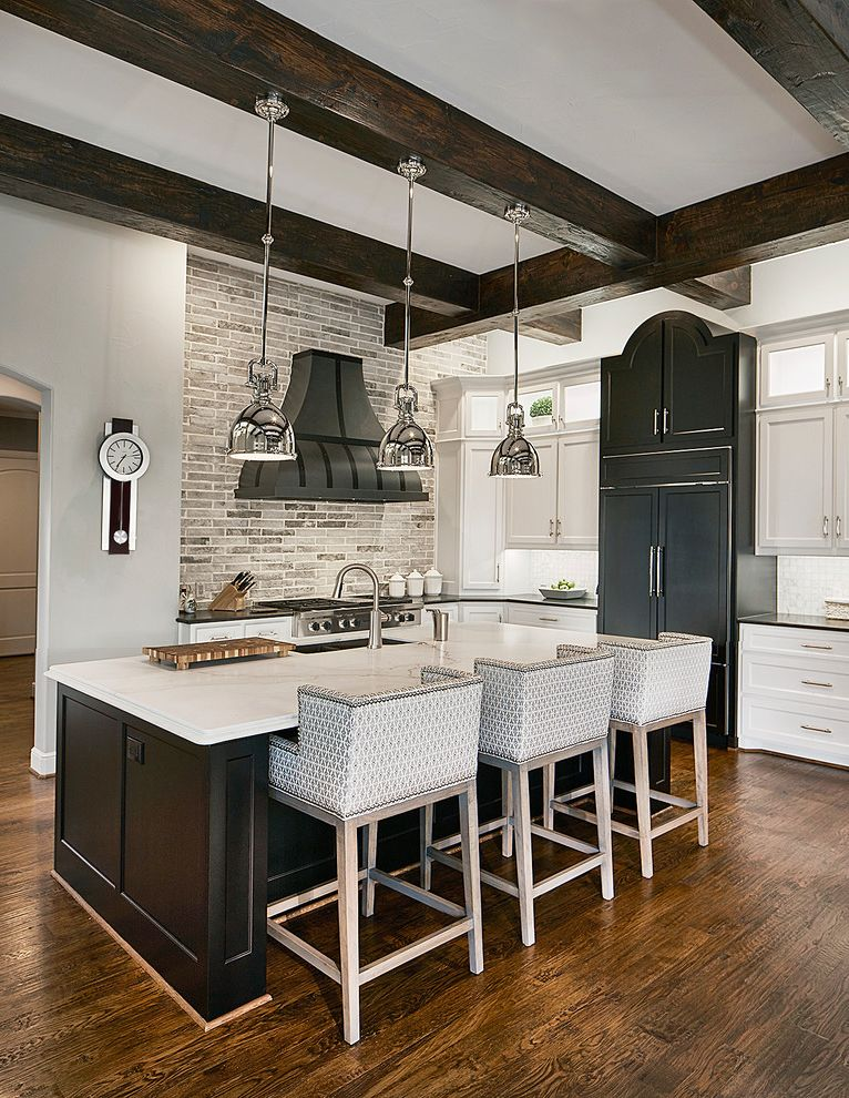 Visual Comfort Pendants   Transitional Kitchen  and Black Hood Black Kitchen Island Glass Cabinets Kitchen Island Lighting Modern Kitchen Faucet Shaker Style Silver Pendant Light Transitional Stools White Countertops White Jars with Lid Wood Beams