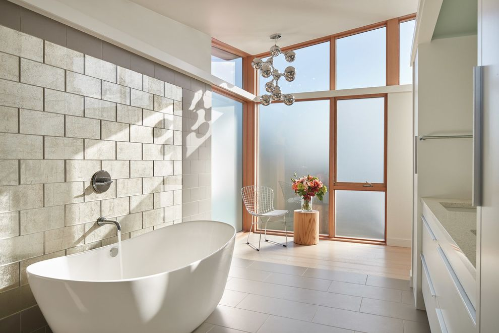 Visual Comfort Pendants with Contemporary Bathroom Also Beige Tile Wall Fogged Glass Pendant Light Tub Filler Wire Chair