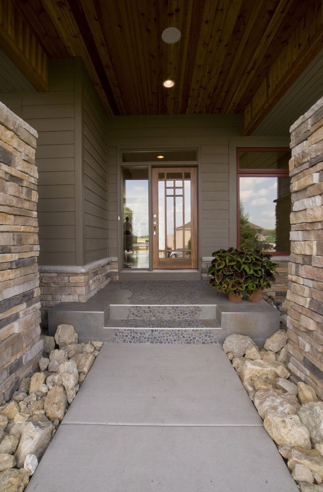 Vrbo Duluth Mn   Contemporary Entry Also Concrete Paving Fieldstone Front Door Path Pebble Tiles Porch Potted Plants Rocks Sidelights Stone Pillars Stone Wall Transom Walkway Wood Ceiling Wood Siding