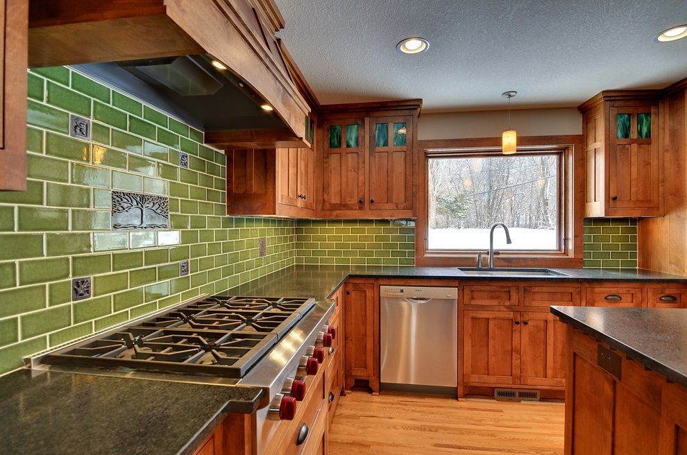 Vrbo Duluth Mn   Craftsman Kitchen Also Arts and Crafts Back Splash Craftsman Dark Stained Wood Fireclay Tile Green Back Splash Green Tile Pendant Light Stainless Steel Wood Floor