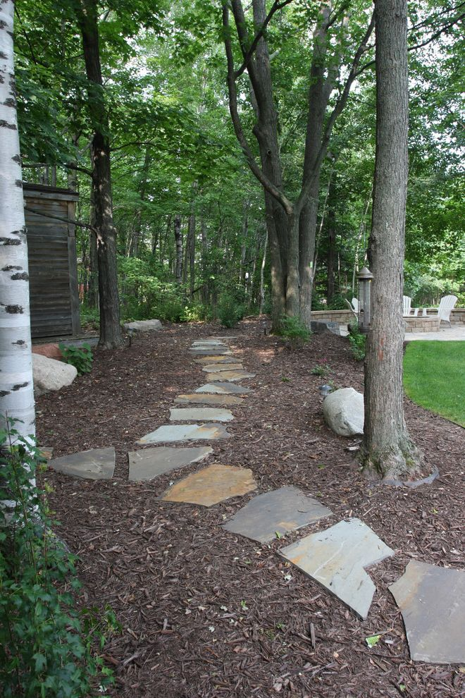 Vrbo Duluth Mn with Traditional Landscape Also Backyard Bark Mulch Boulders Flagstone Grass Landscape Design Nature Outdoor Living Pathway Pavers Stepping Stones Trees Walkway