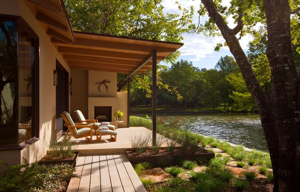 Vue at Lake Eola   Modern Porch  and Covered Porch Lake Lake House Landscape Outdoor Fireplace Wood Wood Path