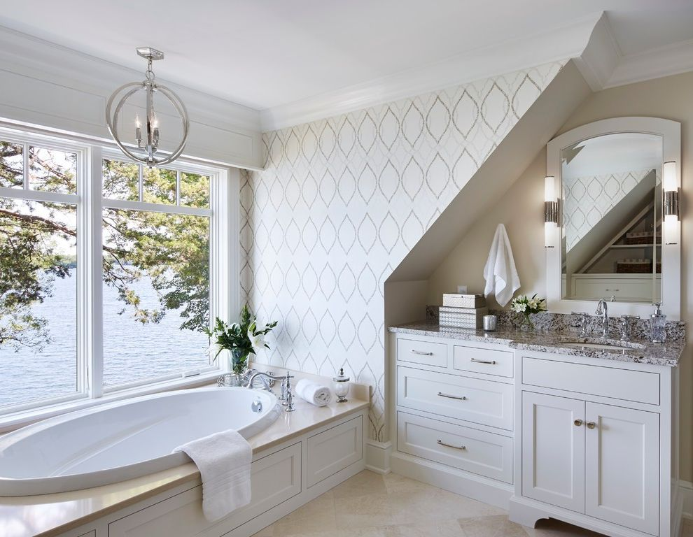 Vue at Lake Eola with Transitional Bathroom  and Bathroom Vanity Lighting Coastal Cottage Elegant Bathroom Grey Countertop Lake Home Lake House Lakeside Home Patterned Wallpaper Stone Countertop Vanity Lighting Wallpaper Water View
