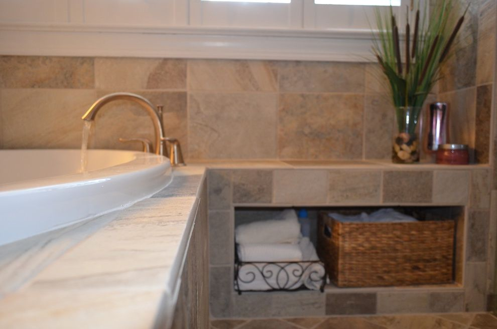 Wake Remodeling   Traditional Bathroom  and Bathroom Storage Custom Bench Roman Tub Faucet