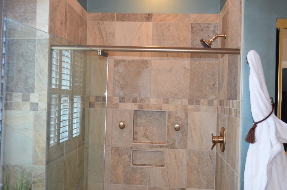 Wake Remodeling   Traditional Bathroom  and Curbless Shower Entry Custom Bench Robe Hooks Semi Frameless Shower