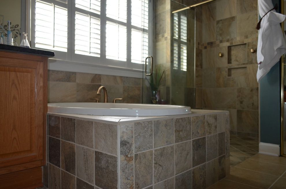 Wake Remodeling   Traditional Bathroom  and Curbless Shower Entry Custom Tile Oil Rubbed Bronze Faucet Semi Frameless
