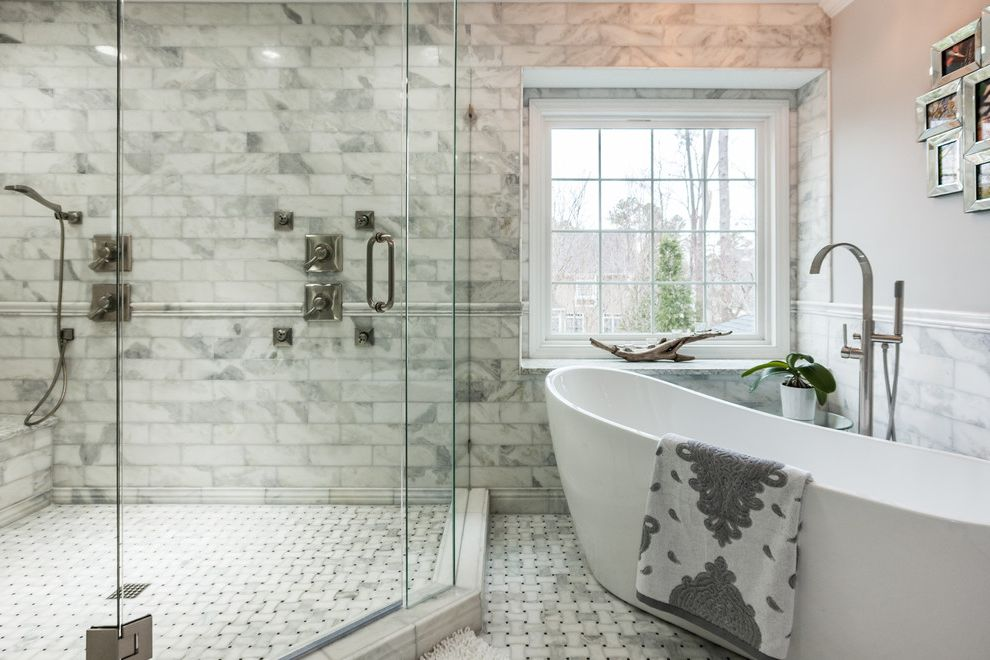 Wake Remodeling with Transitional Bathroom Also Double Shower Elegant Bathroom Freestanding Bath Glass Shower Doors Kitchen Large Shower Marble Marble Subway Tile Master Bathroom Mosaic Floor Tile White Bathroom Whole House Remodel