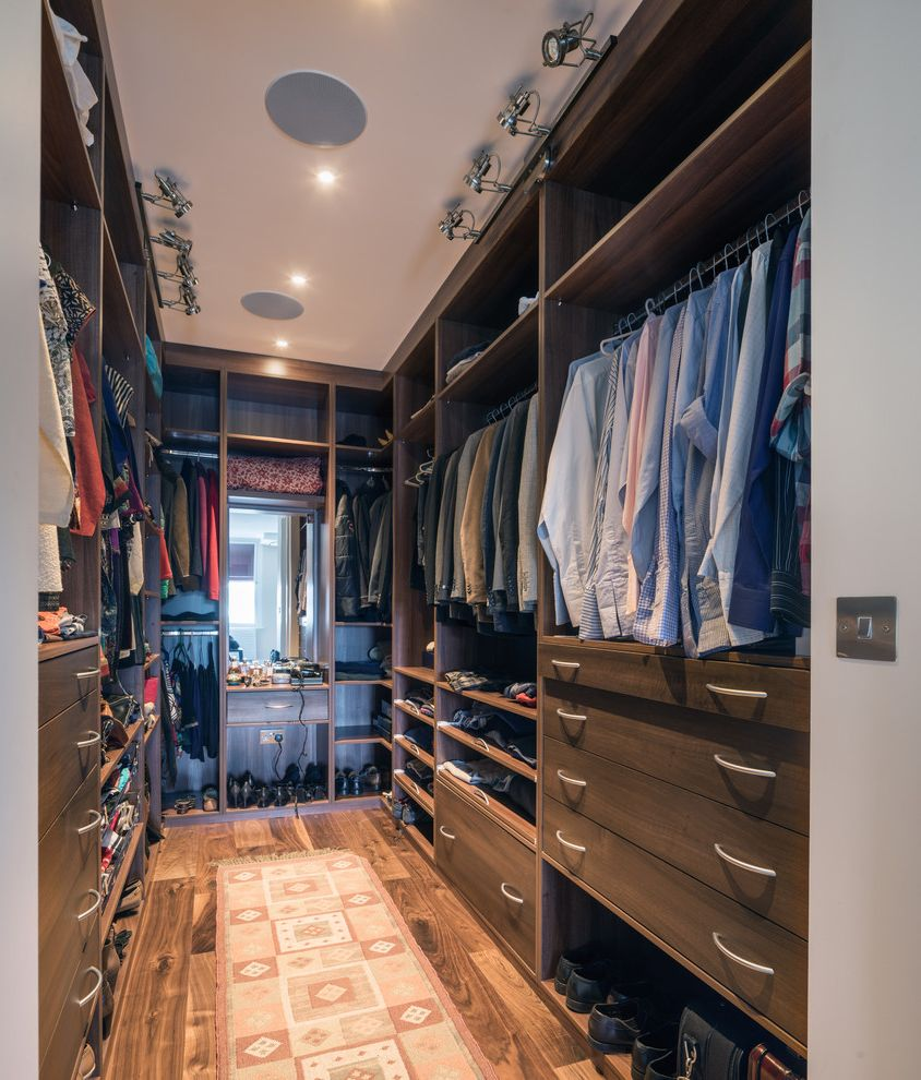Walk in closet designs plans with transitional closet and for His and hers walk in closet