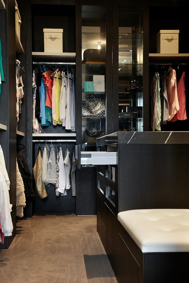 Walk in Closet Designs Plans with Contemporary Closet Also Carpet Closet Bench Closet Island Closet Seat Clothing Storage Dark Brown and Cream Display Cabinets Dressing Room Hanging Racks Open Shelves Tufted Bench Walk in Closet Wardrobe