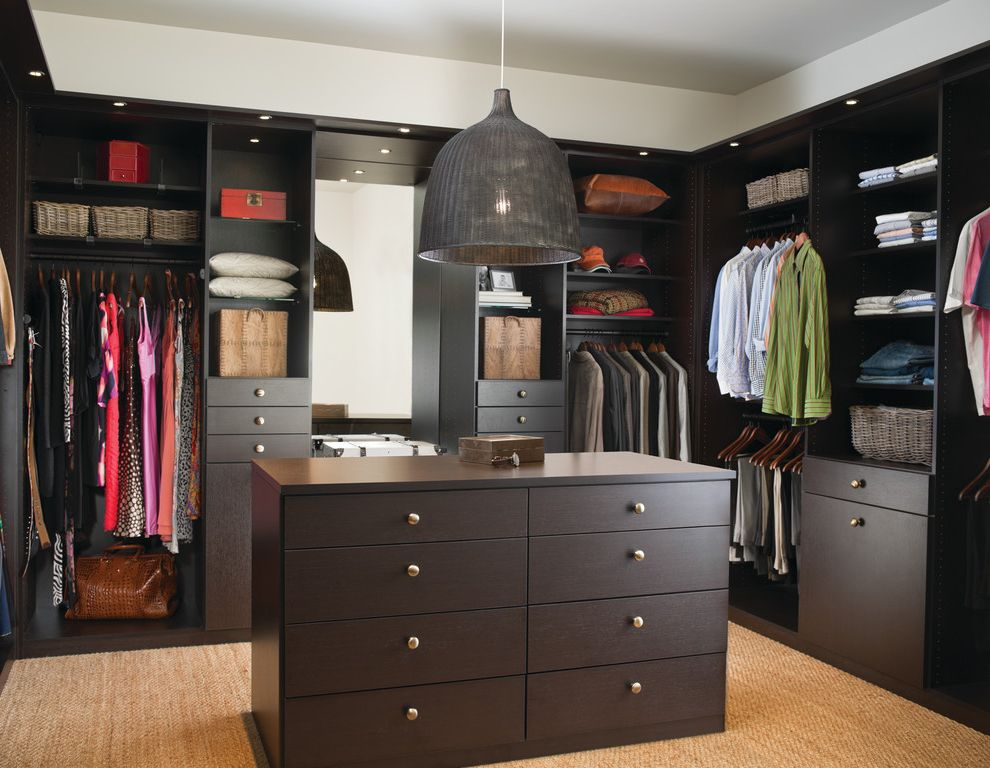 Walk in Closet Designs Plans with Contemporary Closet  and Built in Storage Dark Wood Hanging Pants Island Natural Rug Storage Baskets Walk in Closet