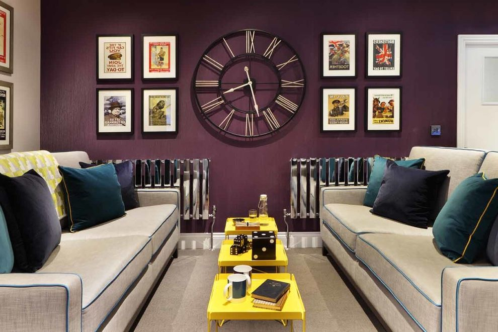 Wall Clocks with Chimes   Contemporary Living Room  and Bright Charity Charity Project Colour Psychology Colourful High Shine Radiators Large Clock Picture Collage Picture Wall Purple Wallpaper Statement Clock War Posters Yellow Tables Yellow Tray Tables