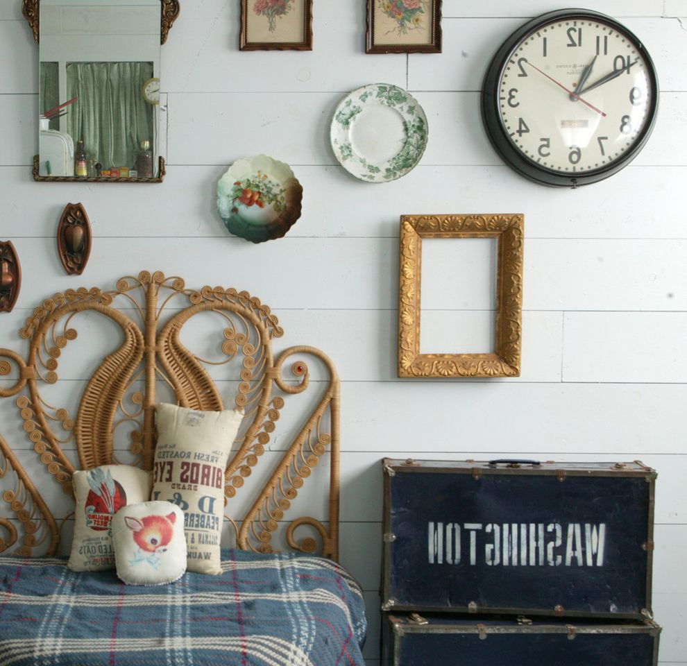 Wall Clocks with Chimes   Shabby Chic Style Bedroom  and Clock Decorative Pillows Gallery Wall Mirror Ornate Headboard Plaid Bedding Throw Pillows Vintage Luggage Wall Art Wall Decor Wall Plates Wood Paneling