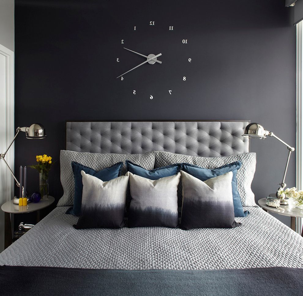 Wall Clocks with Chimes   Transitional Bedroom  and Apartment Bedding Condo Dark Colors Floating Clock Monochromatic Sophisticated Table Lamps Tufted Headboard
