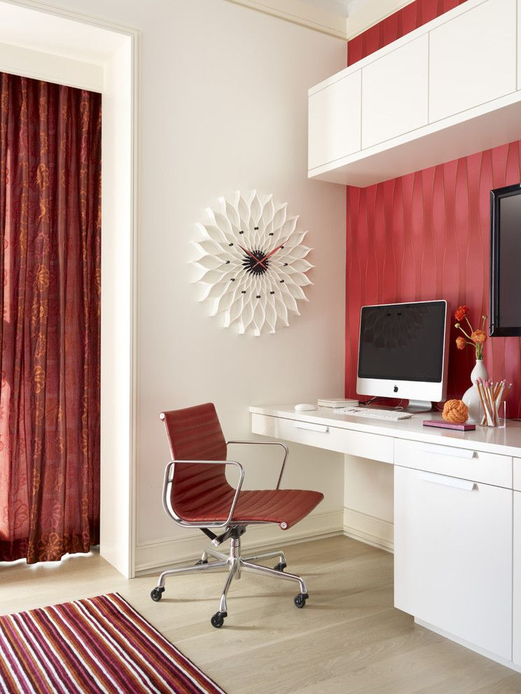 Wall Clocks with Chimes with Contemporary Home Office Also Accent Wall Area Rug Built in Desk Clock Curtains Desk Chair Drapes Modern Icons Striped Rug Wall Decor Window Treatments