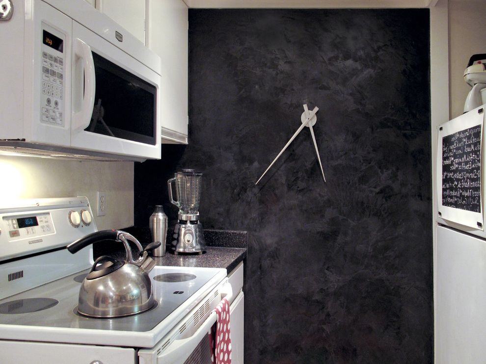 Wall Clocks with Chimes with Eclectic Kitchen  and Accent Wall Black and White Black Wall Dark Wall Kitchen Metal Clock Plaster Small Kitchen Venetian Plaster Wall Wall Clock White Appliances