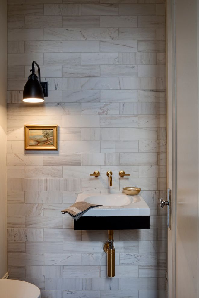Wall Mount Plug in Lamp with Transitional Powder Room  and Powder Room Small Painting Small Sink Wall Sconce Wall Mounted Faucet Wall Mounted Sink White Stone Tile Wall