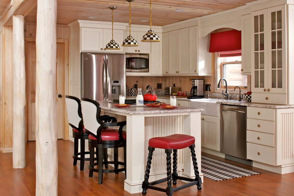 Walloon Lake Inn   Farmhouse Kitchen Also Barstools Black and White Black White and Red Checkerboard Farmhouse Runner Rustic Wood Stool Valance Wood Ceiling Wood Floors