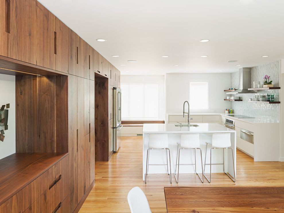 Walnut Ridge Cabinetry   Contemporary Kitchen Also Cooktop Counter Stools Open Shelves Recessed Lighting Storage Vent Hood Windows