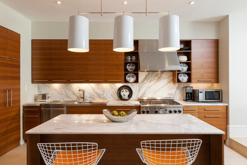 Walnut Ridge Cabinetry   Contemporary Kitchen  and 3 Pendant Lights Kitchen Bowl Clean Lines Counter Stools Decorative Plates Kitchen Island Lighting Tall Ceiling Under Cabinet Lighting