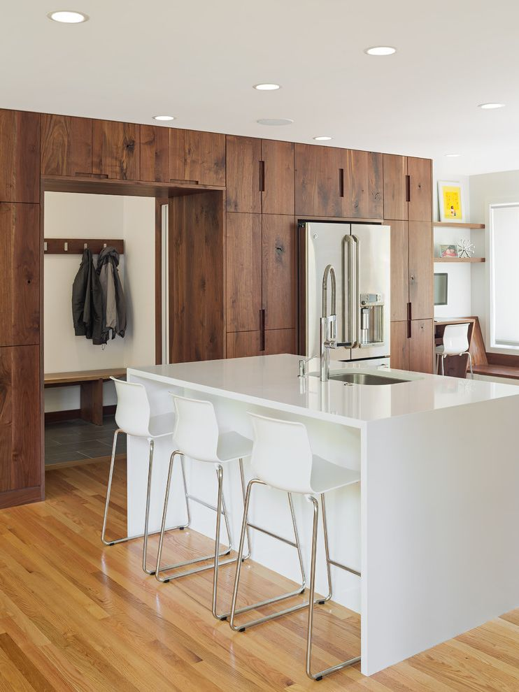 Walnut Ridge Cabinetry with Contemporary Kitchen Also Clean Lines Counter Stools Family Friendly Mud Room Recessed Lighting
