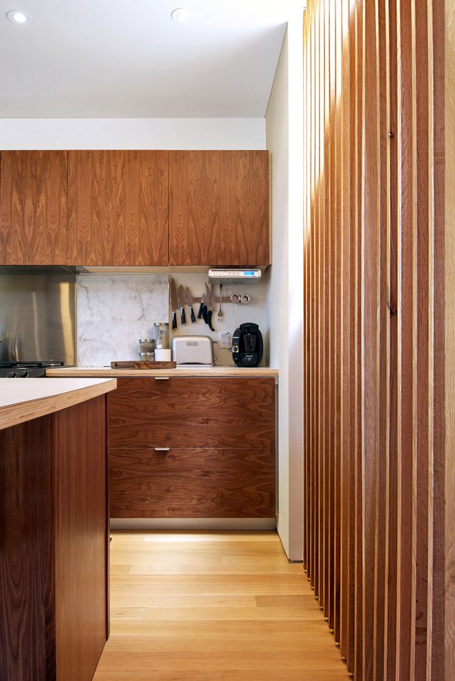 Waring Professional Deep Fryer with Modern Kitchen  and Baltic Bitch Countertop Cabinetry Carrara Marble Knife Storage Rift Cut White Oak Stair Slats Uppers Walnut Kitchen Wood Slats