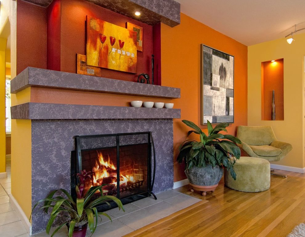 Warm Yellow Paint Colors with Contemporary Living Room  and Bold Color Bright Color Fireplace Ochre Yellow