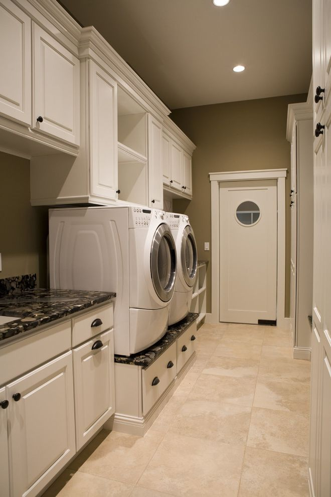 Washer and Dryer Platform   Contemporary Laundry Room Also Contemporary