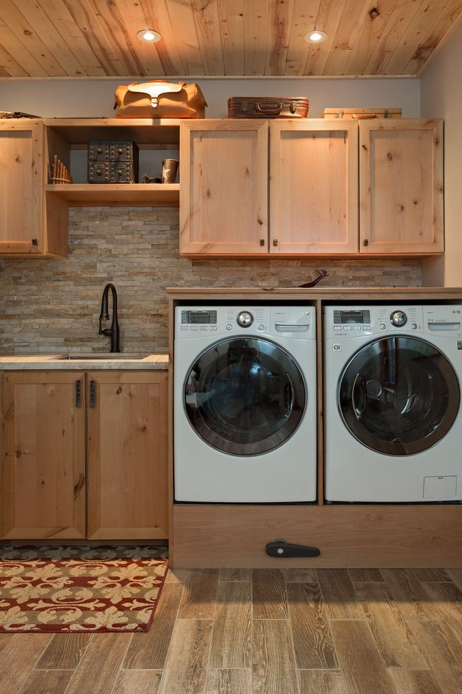 Washer and Dryer Platform   Contemporary Laundry Room  and Boulder Fuentes Design Laundry Room Laundry Room Appliances Mountain Contemporary Mountain Home Mountain Views Natural Wood Recessed Cabinets Stainless Steel Wood Ceiling