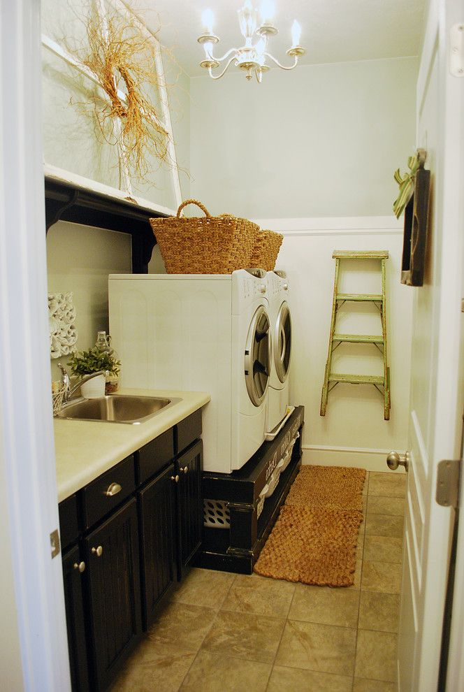 Washer and Dryer Platform   Traditional Laundry Room  and Traditional