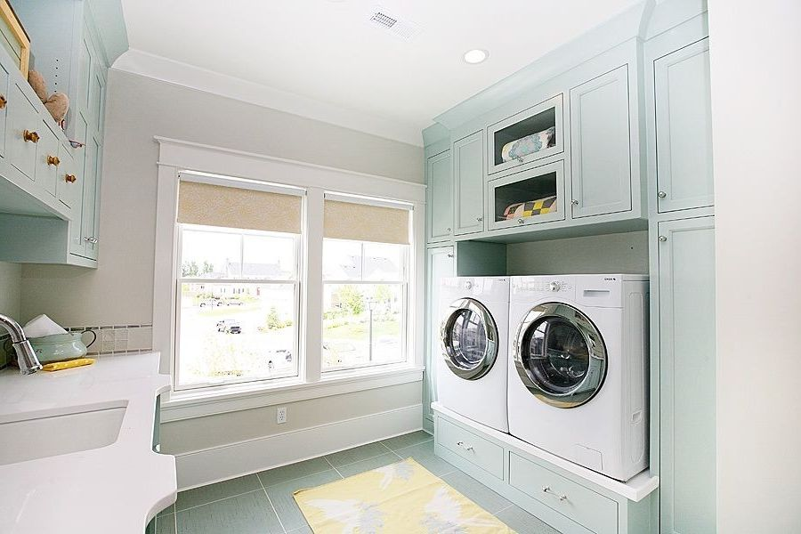 Washer and Dryer Platform with Eclectic Laundry Room  and Decorative Accessories Decorative Rug Decorative Throw Yellow Rug