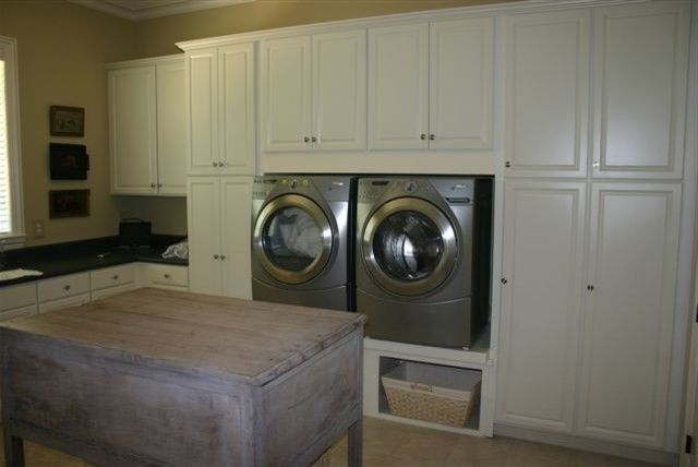 Washer and Dryer Platform with  Laundry Room  And