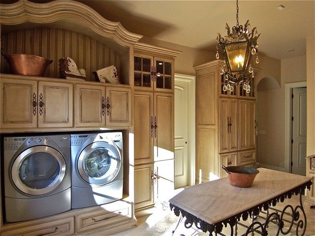 Washer and Dryer Platform with Traditional Laundry Room  and Traditional
