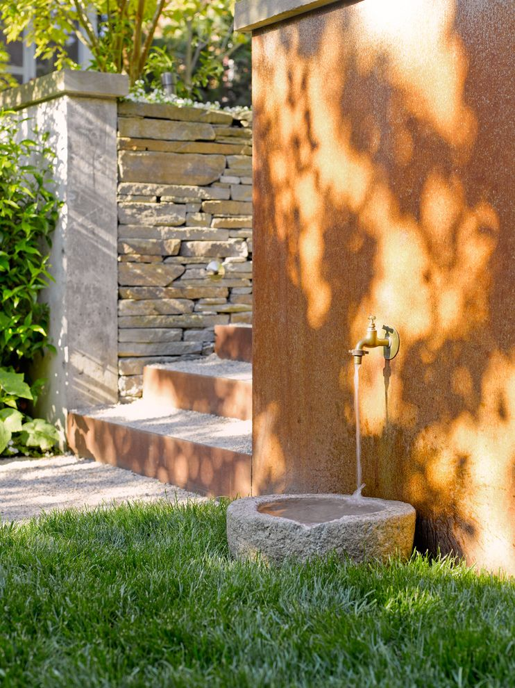 Water Bowl for Dog Crate   Contemporary Patio  and Ceramic Cultured Stone Gravel Pots Rusted Steel Riser Sitting Wall Stacked Stone Stacked Stone Wall Stone Wall Water Feature Water Fountain